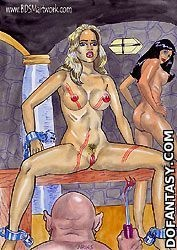 Bondage cartoons. Open your slit slave...give pleasure to your Lord and Master!