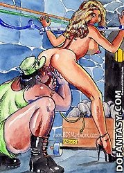 Sex slave comics. One of you slaves, who works harder will spend night with me!