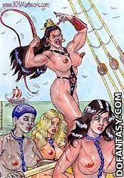 Submission art. Slave girls roe on the slave galley!