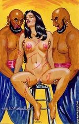 Bondage toons. Two black guys tortures white slave girl!