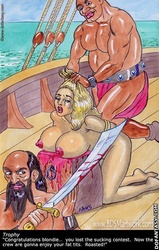 Bdsm art. Congratulations slave! You lost suck contest! Now the crew are gonna enjoy you!