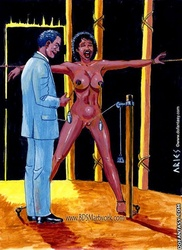 Slave comics. Ebony slave girl humiliated by Master and Mistress!