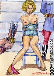 Slave comics. Fatima nad Amila escaped from harem and captured by cruel police officers!