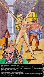 Slave cartoons. The old Lord's new sex toy!