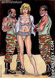 Bondage toons. Horny couple playing with their blonde slave gir!