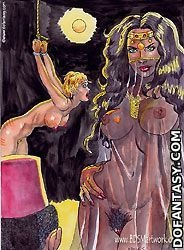 Slave comics. Slave girl double-penetrated in the dark basement!