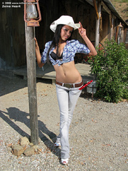 Cowgirl strips in her red truck. - Sexy Women in Lingerie - Picture 2