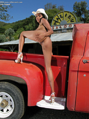 Cowgirl strips in her red truck. - Sexy Women in Lingerie - Picture 7