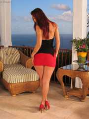 Red skirt taken down to show pussy - Sexy Women in Lingerie - Picture 1