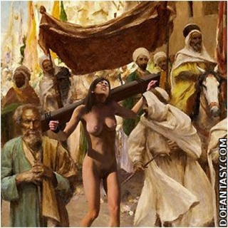 Submission comics. Cruel Emir enjoys his defenseless western slaves in harem!