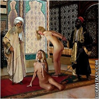 Bondage art. White slaves will be given to slave trainer to break them in!