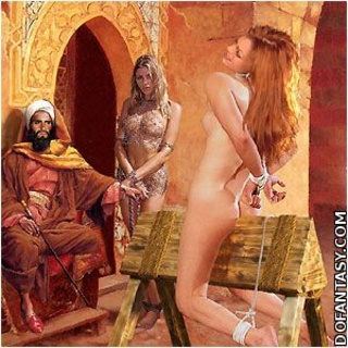 Slave art. Old Emirs likes when white slaves serve them!