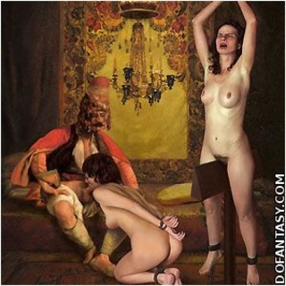 Slave girl comics. Slaves are forced to strecth their pussie for master's pleasure!