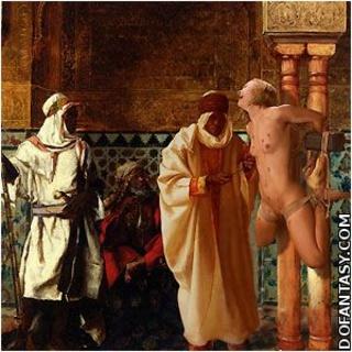 Bondage comics. New slave in harem inspected by Emir himself!