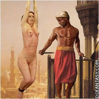 Slave girl comics. He likes the sound of whip landing on her tender flesh!