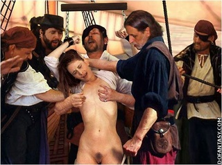 Torture drawings. Pirates enjoy pretty captive girl on their ship!