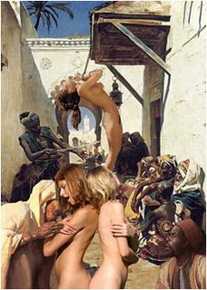 Slave girl comics. White girls sob on the stree slave market!