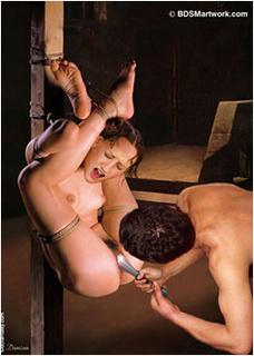 Bdsm art drawings. Tied slave in basement get huge metal toy up her pussy!