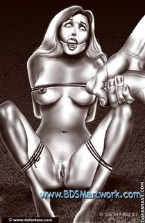 Bdsm cartoons. Slave in restraint jacket suck her master's cock!