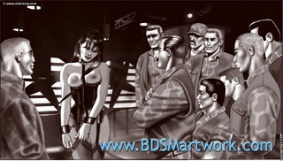 Bdsm cartoons. Salve on a leash forced to sit on a dildo!