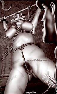 Bdsm art drawings. Tied slave gets her both holes plugged!