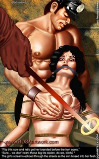 Adult bondage comics. Jason and his new slave Leah rest for the moment on the long trip back home!