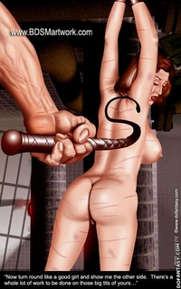 Bdsm cartoons. Now turn around like a good girl! There is a lot of work to be done on these big tits of yours...