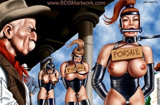 Bondage toons. Cowboys ride their novice ponygirls!