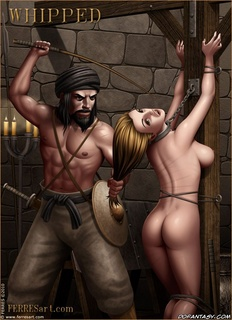Slave girl. Long-haired, with big tits chick humiliated and beaten by sticks.