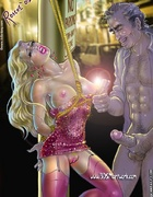 Slave girl comics. Man pulls on a beautiful pussy and he catches them,