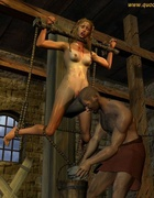 Horror comics. Hangman tied the woman and begins to ...