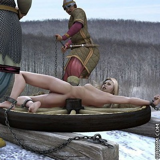Fetish cartoons. Naked woman executed on snow.