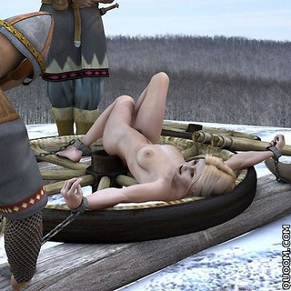 Slave comics. Blonde with big tits gets execution on snow from couple of cruel soldiers.