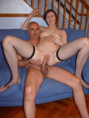 Brunette housewife in fishnet stockings gets her pussy banged on the sofa. Tags:Shaved pussy, british milf, hardcore. - XXXonXXX - Pic 7