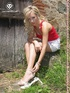Lovely feet stunning blonde babe teasingly posing…