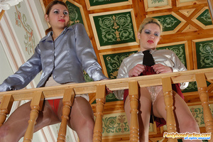 Seductive babes in shiny tights revealing their fiery desire for group sex - XXXonXXX - Pic 5
