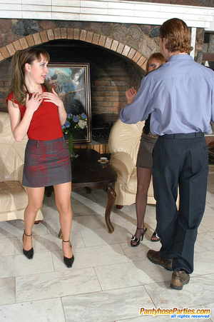 Sexy gals in sheer-to-waist pantyhose revealing policeman their wild nature - XXXonXXX - Pic 6