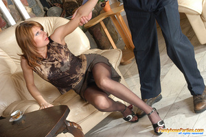 Sexy gals in sheer-to-waist pantyhose revealing policeman their wild nature - XXXonXXX - Pic 9