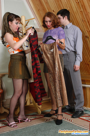 Nylon clad gals clothe guy like a sissy and get doggystyle in group action - XXXonXXX - Pic 2