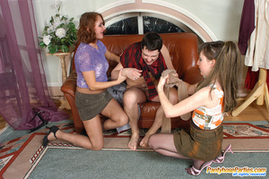 Nylon clad gals clothe guy like a sissy and get doggystyle in group action - XXXonXXX - Pic 6