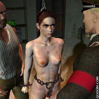 Bdsm cartoons. Naked girl with big tits one among military men!