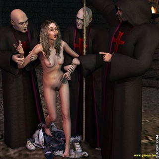 Fetish cartoons. Nude bride receives a penalty in the basement of the church.