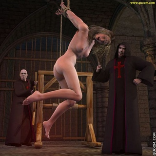 Bdsm art. Depraved ministers of the house tied up and suspended from a rope and a naked blonde spank her.
