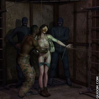 Bdsm cartoons. Prisoner being tortured, tied up, stick to the skin and nails fire.