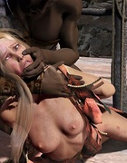 Submission art. Negros caught the girl, mocking her and fuck!