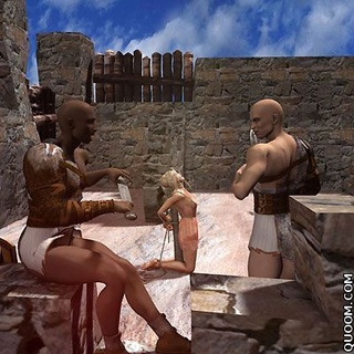 Fetish cartoons. Woman tied up in the castle and kept in captivity. HER beat and bully her.