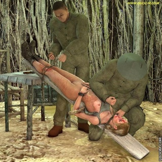 Bdsm art toons. Naked prisoners tied up with chains to the board and fuck her.