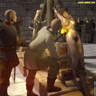 Bdsm cartoons. Helpless naked girl tortured with fire.