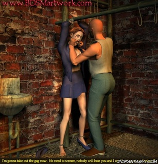 Bdsm comics. Redhead slave humiliated in basement by bald guy!