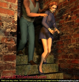 Sex slave comics. He pushed his redhead slave down the stairs!